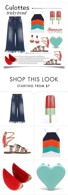 """""""Culottes. ... Summer Loving"""" by conch-lady ❤ liked on Polyvore featuring MSGM, Sam Edelman, Topshop, Christopher Kane, Betsey Johnson, TrickyTrend and culottes"""