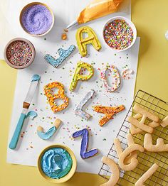 Encourage early literacy skills with these alphabet-shaped sugar cookies. Cut, bake, and cool your own batch of letters! Alphabet Crafts, Alphabet Activities, Activities For Kids, Alphabet Magnets, Learning Activities, Projects For Kids, Diy For Kids, Crafts For Kids, Craft Projects