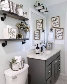 If you are looking for Small Bathroom Makeover Ideas, You come to the right place. Below are the Small Bathroom Makeover Ideas. Upstairs Bathrooms, Downstairs Bathroom, Grey Bathroom Decor, Farmhouse Decor Bathroom, Bathroom Shelves Over Toilet, Master Bathroom, Bathroom Sinks, Bathroom Wall Colors, Grey Bathroom Vanity