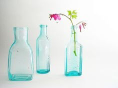 Apothecary Bottle Collection Old Turquoise by vintagebiffann, $33.00