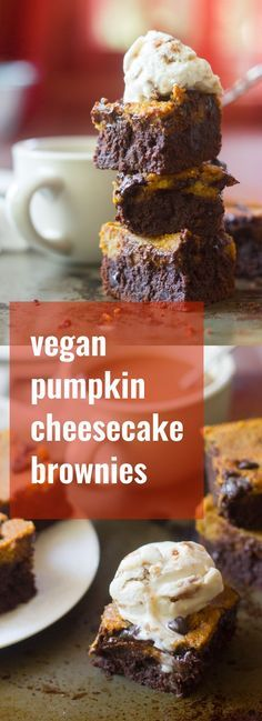 Fudgy chocolate chip-studded vegan brownies are topped with a layer of luscious cashew cheesecake to make this decadent and totally vegan fall dessert.