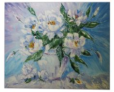 Art Modern Style Oil Painting Decorations Picture  Ideas Gift for girls Flowers painting Peonies still life Blye Gift for mother Hand made (87.02 USD) by oilpaintingsIren