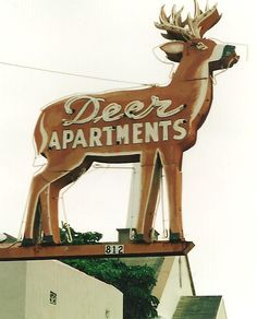 Deer Apartments #boulderinn Old Neon Signs, Vintage Neon Signs, Old Signs, Graphic Design Typography, Lettering Design, Signage Design, Business Signs, Advertising Signs, Neon Lighting