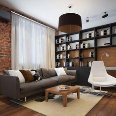 Egyszobás lakás remek berendezése a funkcionális terek ügyes szervezésével - sok tégla és fa felülettel