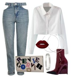 """""""Busy"""" by sheekshat on Polyvore featuring Topshop, Roger Vivier, Allison Bryan, Lime Crime and Cartier"""