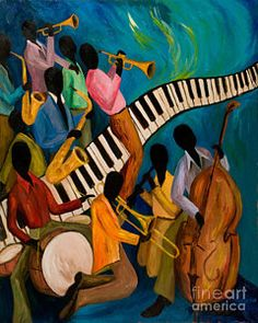 Trombone Art - Jazz on Fire by Larry Martin Renaissance Artworks, Harlem Renaissance Artists, Fire Painting, Music Painting, Painting Doors, African American Artist, American Artists, Fine Art Amerika, Jazz Art