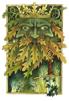 Green Man Misericord Greetings Card by Christopher Bell