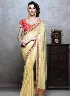 Miraculous Cream Crepe Silk Designer Saree - Luxefashion Internet Inc
