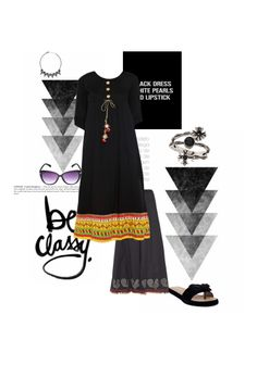 'Be classy' by me on Limeroad featuring Dori Black Kurtas, Toe Separator Black Sandals with Black Necklaces