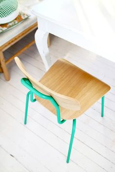 find one of these chairs - like old school cafeteria chairs; paint the metal structure like the green here. Then find more and paint them diff colours eg yellow, pale pink etc. Lush.