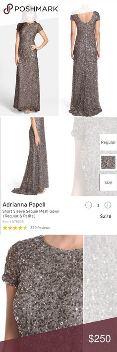 """Adrianna Papell Sequin Gown Adrianna Papell short sleeve sequin gown with scoop back. Color is """"lead"""" which is a greyish silver. Worn once for a photoshoot. Like new! Perfect dress for the holidays!🎄✨                       •n o  t r a d e s• •s m o k e  f r e e / p e t  f r e e  h o m e•   •s a m e / n e x t  d a y  s h i p p i n g• Adrianna Papell Dresses"""