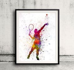 tennis player at service serving silhouette 01  SKU by Paulrommer