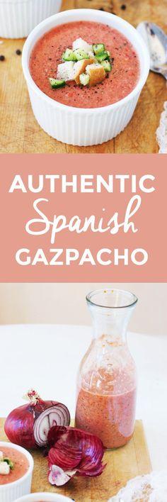 Authentic Spanish Gazpacho | how to make spanish gazpacho, easy gazpacho recipes, cold soup recipes, how to make a cold soup, cold soup recipe ideas, chilled soup recipes, summer soup recipes || The Butter Half via @thebutterhalf