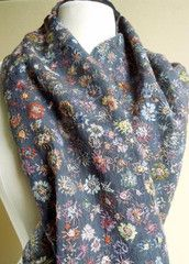 Sophie Digard - embroidered flowers on dark grey scarf