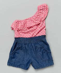 Another great find on #zulily! Denim & Pink Polka Dot Asymmetrical Romper - Toddler & Girls #zulilyfinds