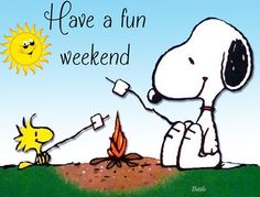 Have a Fun Weekend - Snoopy and Woodstock Roasting Marshmallows❤ Snoopy Und Woodstock, Snoopy Love, Peanuts Cartoon, Peanuts Snoopy, Snoopy Cartoon, Snoopy Comics, Funny Comics, Peanuts Characters, Cartoon Characters