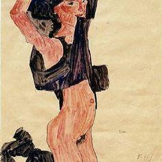 Kneeling girl, derobing, 1910 #egonschiele #schiele #art #womeninart #egonschieleswomen