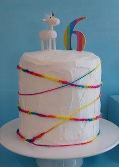 Like the rainbow yarn decoration