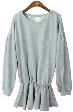 Grey Long Sleeve Elasic Waist Ruffles Sweatshirt