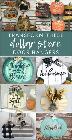 Dollar Store Pumpkin Signs and Door Hanger Crafts transform these dollar store door hangers – Grab a few pumpkin signs from Dollar Tree, and let's get crafting. Transform these dollar store pumpkin door hangers into completely custom fall decor. Dollar Tree Fall, Dollar Tree Decor, Dollar Tree Crafts, Dollar Tree Pumpkins, Dollar Tree Finds, Dollar Tree Christmas, Dollar Tree Store, Dollar Tree Halloween Decor, Dollar Store Gifts