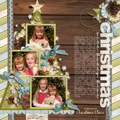 "Sweet ""Christmas With Buddy"" Scraping Page...love the idea of using the Christmas tree as the mat for the photos!"