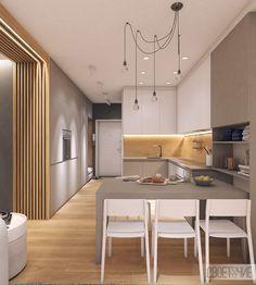 Ламинат объединяет прихожую с кухней-гостиной