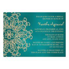 Teal and Gold Indian Inspired Bridal Shower Custom Announcements.  $2.05  #bridalshowerinvites #indianstylebridalshower