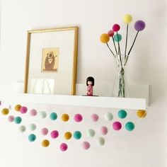 Pom Pom Garland Pastel Pink Nursery Felt Ball Garland Birthday Shoot Toddler Girl Room Decor Pom Pom Garland by NordicInKent on Etsy Big Girl Bedrooms, Little Girl Rooms, Girls Bedroom, Felt Ball Garland, Pom Pom Garland, Girl Decor, Baby Room Decor, Diy Nursery Decor, Nursery Ideas