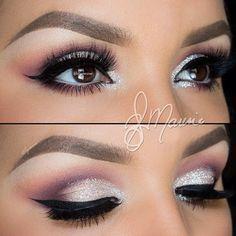Sliver and Purple Eye Shadow