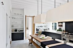 Love the mix of wood, black, and white! Traditional Meets Modern