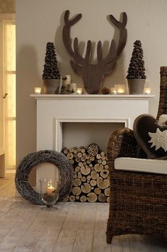 Check Out 27 Christmas Fireplace Mantel Decoration Ideas. If you have a fireplace at home, you should decorate it for Christmas! A mantelpiece is an important part of your interior. Fireplace Mantel Christmas Decorations, Diy Fireplace Mantel, Fake Fireplace, Christmas Fireplace, Christmas Mantels, Simple Fireplace, Fireplace Ideas, Fireplace Design, Christmas Christmas