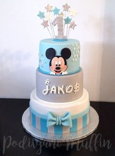 Amazing Mickey Mouse cake in blue and gray - . - Amazing Mickey Mouse cake in blue and gray – - Mickey Mouse Torte, Festa Mickey Baby, Mickey Mouse Birthday Cake, Mickey Cakes, Minnie Mouse Cake, Baby Boy Birthday Cake, Mickey First Birthday, First Birthday Cakes, Pastel Mickey
