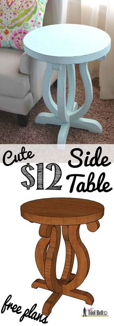 Cute and Cool Table Woodworking Designs | Cute Side Table by DIY Ready at http://diyready.com/easy-woodworking-projects/