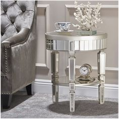 Noble House - Bluffton Mirrored Accent Table - Champagne Silver