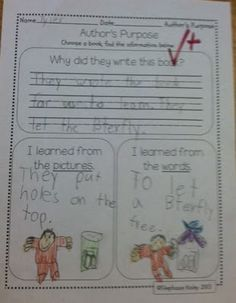 Authors Purpose - for Information Awesome for first grade!