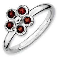 0.43ct Lovable Silver Stackable Garnet Flower Ring. Sizes 5-10 Available Jewelry Pot. $32.99. Fabulous Promotions and Discounts!. All Genuine Diamonds, Gemstones, Materials, and Precious Metals. 100% Satisfaction Guarantee. Questions? Call 866-923-4446. 30 Day Money Back Guarantee. Your item will be shipped the same or next weekday!. Save 60% Off!