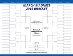 March madness 2016 dates