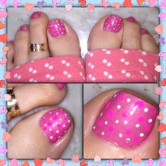 Pink Polka dot pedi