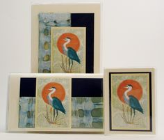 Blue Heron Gift Set $32 This classic design is sure to please that special woman on your list. Our original artwork with these fabulous woven papers were used to create this set. Includes address phone book, checkbook, credit card wallet photo case. #blueheron  #birds #giftideas  #giftset  #checkbookcovers #jadesmenagerie