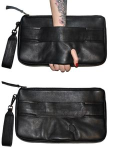 black leather glovebag