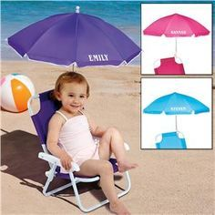 Child Size Umbrella Beach Chair   Personalized Gifts For Kids