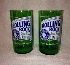 Rolling Rock Beer Bottle Tumbler Drinking Glasses. Recycled Glass Bottles. Man Cave on Etsy, $12.00