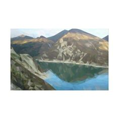 #Lake in the mountains in polygon technique canvas print - #travel #art