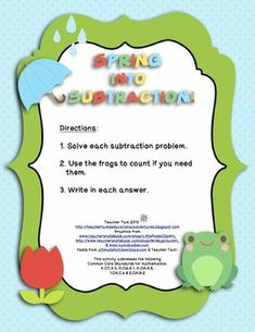 This FREE center activity has students practicing their subtraction skills, writing numbers, and celebrating spring! It includes eight pages of subtraction problems with differences of less than ten. A sheet of directions and counters are also included.