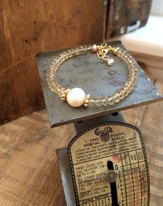 Champagne Quartz Freshwater Pearl Quartz Bracelet by kabyco