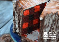 Lumberjack Tree Trunk Cake Sports Edible Ax and Plaid Interior