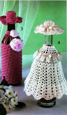 Crochet wine bottle decoration pattern and chart (Russian) Crochet Wool, Baby Afghan Crochet, Crochet Dishcloths, Crochet Doilies, Crochet Flower Patterns, Crochet Flowers, Knitting Patterns, Yarn Crafts, Diy And Crafts