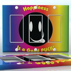 DIY Do It Yourself Home Decor - Easy to apply wall plate wraps | HAPPINESS IS A GOOD PUCK!  Happy face tongue  wallplate skin sticker for 3 Gang Decora LightSwitch | On SALE now only $5.95