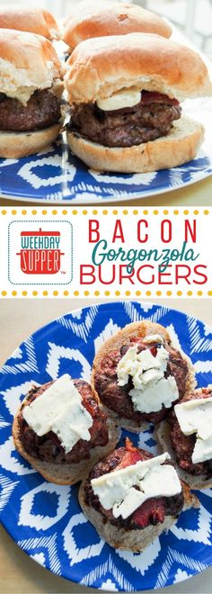 Creamy blue cheese and salty smoked bacon are the perfect addition to a juicy beef burger. This is one of our favorite Sunday Supper recipes. #WeekdaySupper