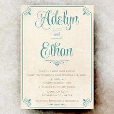 Cyan Wedding Invitation  Shabby Chic Wedding by DivineGiveDigital, $21.00